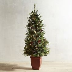 """Want to make a great first impression this holiday season? Place our handcrafted entryway tree just inside the front door and let its scent say """"Christmas"""" from the moment your guests cross the threshold. Standing 4.5 feet tall, it's pre-lit and arrives in its own attractive pot.<br><BR>Clip one of our Forever Fresh fragrance sticks (two included) onto your Forest Fresh Entryway Tree to maintain that beautiful mix of spruce and pine fragrance during the holidays."""