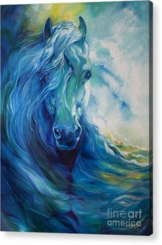 Abstract Horse Paintings - Wave Runner Blue Ghost Equine by Marcia Baldwin Horse Drawings, Art Drawings, Arte Equina, Horse Artwork, Equine Art, Horse Pictures, Animal Paintings, Horse Paintings, Pastel Paintings
