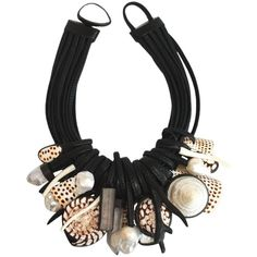 Monies Baroque Pearl, Mountain Crystal, Shell, Ebony, MOP and Leather Necklace | From a unique collection of vintage drop-necklaces at https://www.1stdibs.com/jewelry/necklaces/drop-necklaces/