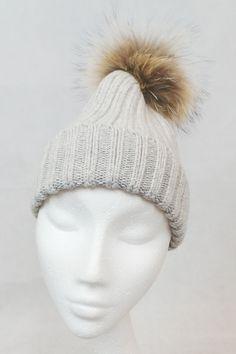 e5a9c62d569e3 JESSIMARA GREY AND BROWN HAT WITH FUR POM POM Fur Accessories
