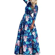 Cutecc Women Elegant Casual Bodycon Floral Evening Party Coctail Long Maxi Dress XL ** More info could be found at the image url. (Note:Amazon affiliate link)