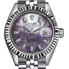 Pre-owned Rolex Datejust Stainless Steel with Purple Mother of Pearl... ($5,799) ❤ liked on Polyvore featuring jewelry, watches, 18k jewelry, rolex, rolex jewelry, purple jewelry and dial watches