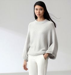 Minimalist/ Mute by Joanne Lu / Quietly beautiful / Dolman Sleeve Sweater / Light Gray by SaturdayProject