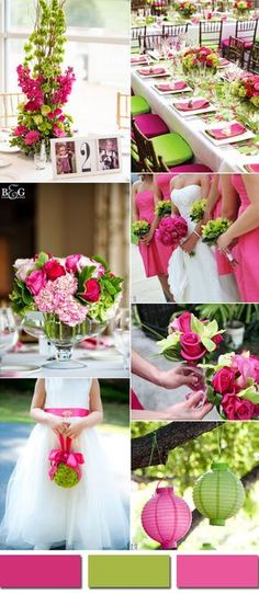 pink yarrow and lime green spring and summer wedding color inspiration