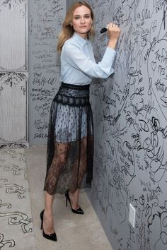 Diane Kruger takes at NY screening of her film Disorder : Lovely in lace! The Inglourious Basterds star showed off her toned pins in a long, sheer black lace skirt Diane Kruger, Lace Skirt Outfits, Lace Outfit, Lingerie Look, Look Fashion, Fashion Outfits, Skirt Fashion, Spring Fashion, High Fashion