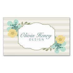 Rayas florales del vintage elegante tarjetas de visita