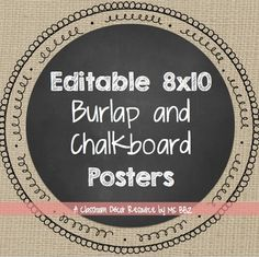 Chalkboard and Burlap Large Poster Labels. by Ms BBZ 5th Grade Classroom, Classroom Walls, Classroom Setup, Classroom Design, Future Classroom, Classroom Organization, Chalkboard Classroom, School Themes, School Ideas