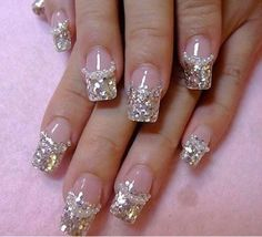 Bridal wedding nails ♥ Silver spangle french tips with pearls #weddbook #wedding #nail #nails #glitter