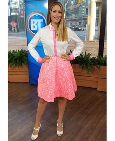 Tuesday, July 22nd | Dina's outfit included: Holt Renfrew PINK TARTAN White and Pink Collared Shirt $275.00 & PINK TARTAN Pink Lace Full Skirt $295.00 honey Neon Statement Necklace on Oversized Silver Chain $85.00 TRISTAN Silver and Pastel Stone Bracelet $25.00 NINE WEST ENZO ANGIOLINI Cut Out Peep Toe Heels $160.00 (Last Season)