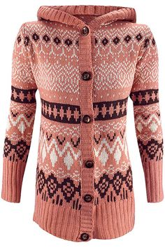 Southwestern Button Down Hooded Sweater Coat