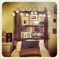 Headboard Made From Pallets | Headboard I made out of recycled pallets! Lights from ... | crafts DIY