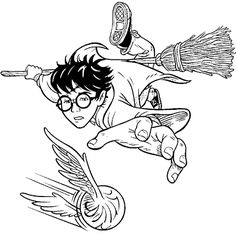Harry plays Quidditch with his besom broom