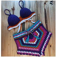 Shorts E Blusas, Crochet Bikini Bottoms, Bikinis, Swimwear, Tops, Fashion, Crochet Shorts, Crochet Crop Top, Crochet Bikini