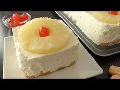 Pastel de piña sin horno. Os va a sorprender lo rápido que es de hacer este pastel sin horno y los pocos ingredientes que se necesitan para ello. Si necesitáis un postre de emergencia este es perfecto. Solo debéis tener en cuenta que se hace muy rápido, pero que los tiempos de frío indicados en la receta son