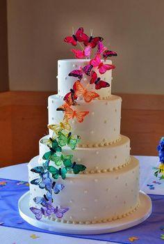 Rainbow Butterfly Wedding Cake ~  we :heart: this! http://moncheribridals.com