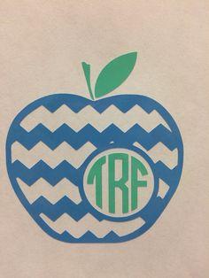 Chevron Monogram Apple Decal by SweetSerendipityShop on Etsy