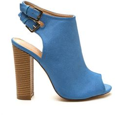 Double Take Chunky Peep-Toe Booties BLUE ($31) ❤ liked on Polyvore featuring shoes, boots, ankle booties, ankle boots, blue, peep toe bootie, high heel ankle boots, faux leather booties, blue ankle boots and chunky heel boots