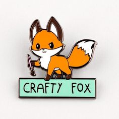 Animals Drawing Crafty Fox Pin TeeTurtle - [Description] What a crafty little critter! [Product Details] Dimensions: tall Enamel Pins: Metal and EnamelCheck out more pins here! Cute Animal Drawings, Cute Drawings, Fox Crafts, Fox Drawing, Crafty Fox, Fox Decor, Fox Art, Little Critter, Cute Fox