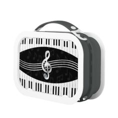 Curved Piano keys and treble clef Lunchbox #lunch #box  #music #lover #musical by @GiftsBonanza