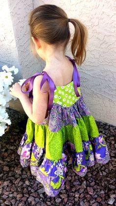 Spring purple and green twirl dress with sarin by TwirlandTango, $47.00