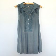 Free People Indigo Blue Top Flowy Festival Tunic Pretty Indigo (deep blue) dyed Free People tunic top  abalone buttons up the placket, cotton pin-tuck details and soft loose collar. Sheer embroidered fabric at shoulder and on upper back. Loose and Flowy rayon fabric makes up the lower half. Wear in loose or tuck it in ✨ Free People Tops Blouses