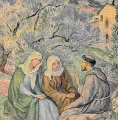 St Francis preaching to St Clare. I love how Sr Francis is preaching. Just talking to St Clair and her friend about God. Evangelisation isn't about dictation, it is about having a conversation.