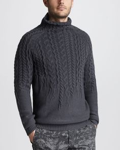 Just Cavalli Gray Mockneck Cable Sweater for men Cable Sweater, Men Sweater, Sweater Cardigan, Cable Knit, Handgestrickte Pullover, Hand Knitted Sweaters, Hand Knitting, Knitwear, Turtle Neck