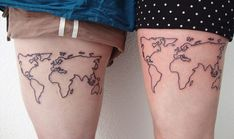 Matching Leg Map Tattoos for Women