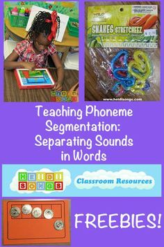 Teaching Phoneme Segmentation - FREEBIES! Here are 12 ideas to help children that are struggling with this important skill. #kindergarten