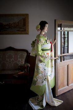 CUCURU ヒワ色道長花彩宴 着物ウェディング 和婚 和装 引き振り袖