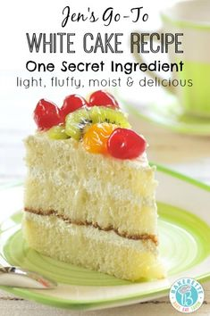 One secret ingredient takes this white cake recipe to a whole new level making it super-duper moist, light, fluffy and delicious! Bakerette.com