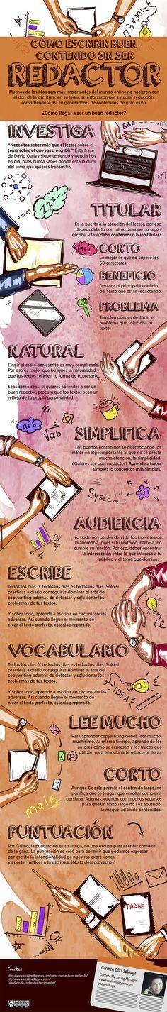 Cómo escribir contenido sin ser redactor Creative Writing, Writing Tips, Content Marketing, Digital Marketing, Community Manager, Study Motivation, Copywriting, Study Tips, Writing Inspiration