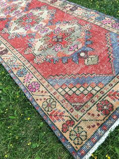 Distressed Vintage Handmade Oushak Runner with Great Pops of Pink,Antique Hallway Decor Terrific Turkish Runner,Kitchen Runner 3'x9'1""