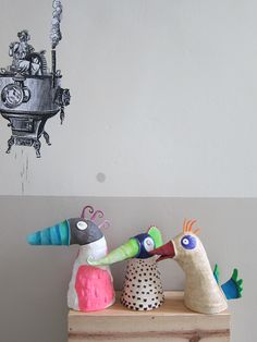 papier maché birds
