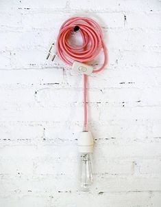 Textile cable lamp with switch and plug