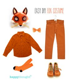 Fantastic, easy to throw-together fox costume with fox mask. One of 10 costume ideas - click to see more!https://happythought.co.uk/craft/animal-costume-ideas