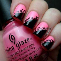 Pink/black leopard