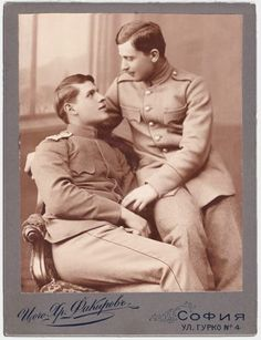 Two men in uniform Sofia, Bulgaria Couples Vintage, Vintage Men, Lgbt Couples, Couples In Love, Lgbt History, Photo Vintage, Photo Couple, Male Photography, People Photography