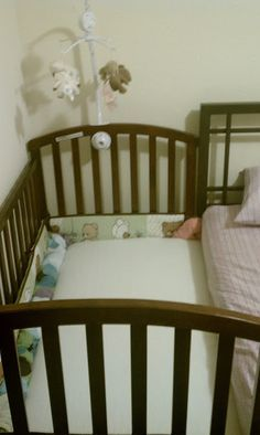 Turn a crib into a co-sleeper/sidecar. Regular crib can grow with baby, unlike designated co-sleepers that are built small. Baby Bedroom, Baby Room Decor, Co Sleeper Crib, Baby Crib Mattress, Baby Bassinet, Best Baby Cribs, Parents Room, Room Kids, Baby Bedding