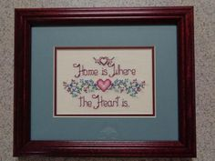 Home Is Where the Heart Is - Framed Cross Stitch Picture - Wall Decor Cross Stitch Heart, Cross Stitch Samplers, Cross Stitch Designs, Cross Stitch Patterns, Picture Wall, Picture Frames, House Blessing, Cross Stitch Kitchen, Wall Decor Pictures