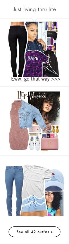 """""""Just living thru life"""" by ascendingfiresofmercury ❤ liked on Polyvore featuring Michael Kors, H&M, A BATHING APE, Nudie Jeans Co., GET LOST, Casetify, Topshop, GUESS, Yves Saint Laurent and adidas"""