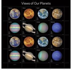 NASA Planetary Discovery Stamps: Full-disk images of the planets obtained during the last half-century of NASA space exploration. #Stamps #NASA #Planets