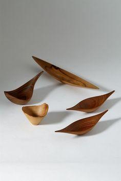Group of wooden objects by Jonny Mattsson, Sweden. 1950's.