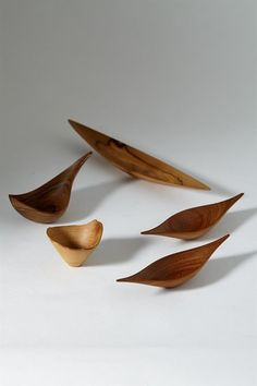 Group of wooden objects by Jonny Mattsson, Sweden. 1950's.