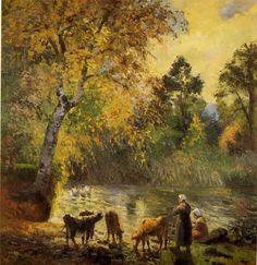 Autumn, Montfoucault Pond - Camille Pissarro