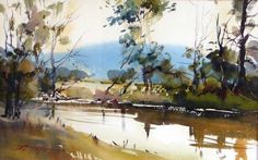 David Taylor - I like the muted reds and loose brushwork of the vegetation, contrasting against the soft blue background of the mountain and the yellow sky.