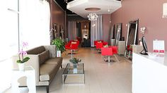 Capelli Salon | Dallas | Get this look with our red Gwyneth Salon Chair http://stand.sh/gwynethred