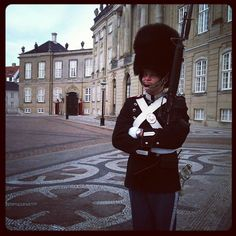 A Danish solider outside the Queen of Denmark's residence in the Royal Garden in Copenhagen.