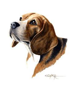 Imprimir BEAGLE Dog Art assinado pelo artista DJ Rogers