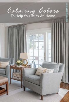 7 calming color palettes for cultivating your safe haven. Curated by top interior designers. CLICK TO READ MORE! #color #colorpalette #soothingcolors #paintcolors #calmcolors #colorpsychology #purple #lightblue #sagegreen #teal #blushpink #deepgray #lightyellow Paint Colors For Home, House Colors, Bordeaux, Prestigious Textiles, Grey Curtains, Soothing Colors, Top Interior Designers, A Boutique, Master Bedroom